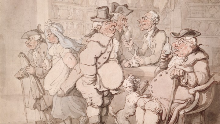 A cartoon of colonial men visiting an apothecary