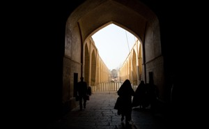 The entrance to the Ali Qapu, the royal palace, in Isfahan, Iran