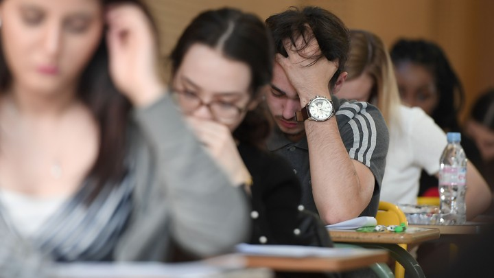 Students take a test.