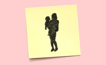 A post-it note shows a sketch of a silhouette of a woman holding a child