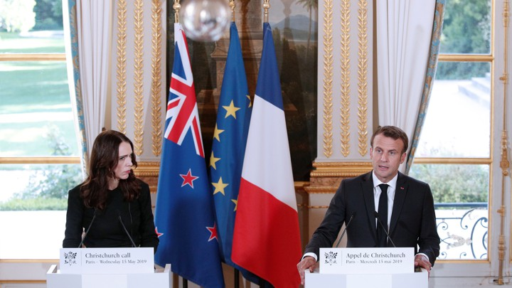 French President Emmanuel Macron and New Zealand Prime Minister Jacinda Ardern hold a news conference during the Christchurch Call meeting on May 15, 2019.