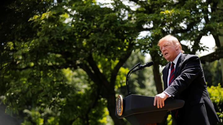 Donald Trump sprak over de immigratievoorstellen van zijn regering in de Rozentuin op 16 mei 2019.