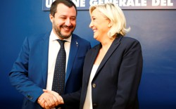 Matteo Salvini and Marine Le Pen meet in Rome in October 2018.