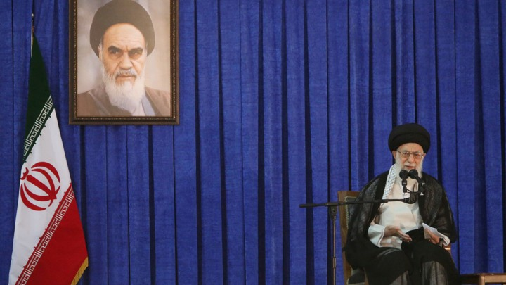 Ayatollah Ali Khamenei speaks at a ceremony honoring the founder of the Islamic Republic, Ayatollah Ruhollah Khomeini, in Tehran in April.