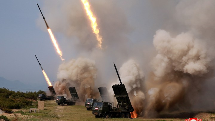 """The North Korean military conducts a """"strike drill"""" on May 4, 2019"""