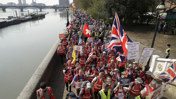 """Brexit supporters participate in the """"March to Leave"""" on March 29, 2019, the date Brexit was supposed to happen."""