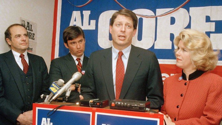 Former Representative Tom Downey (second from left) with then-Senator Al Gore in 1988