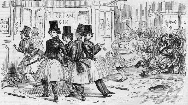 21cbdeaa7 An illustration circa 1855 of a group of drunk female police officers  wearing