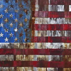 An illustration of a decaying American flag