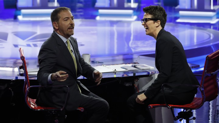 The MSNBC debate moderators Chuck Todd and Rachel Maddow