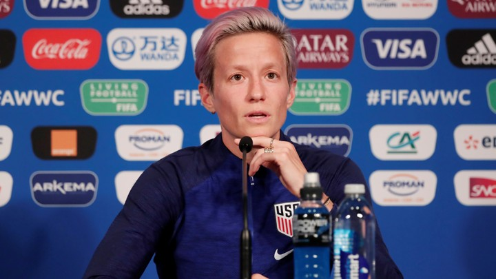 Megan Rapinoe answers questions during a Team USA press conference