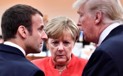 Angela Merkel, Emmanuel Macron, and Donald Trump are increasingly at odds on international affairs.