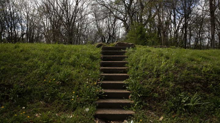 A stairway leads to an empty lot where a house used to stand.