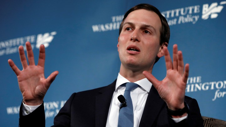 "The White House senior adviser Jared Kushner speaks during a discussion titled ""Inside the Trump Administration's Middle East Peace Effort"" on May 2, 2019"