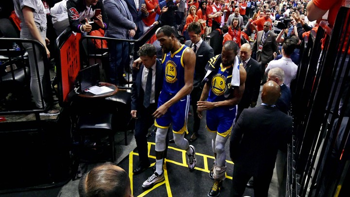 bf0c7e1b869 Kevin Durant walks to the locker room during the second quarter against the  Toronto Raptors in Game 5 of the 2019 NBA Finals at Scotiabank Arena.