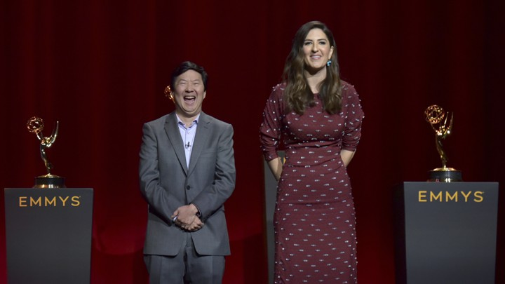 Ken Jeong and D'Arcy Carden announce the nominations for the 71st Emmy Awards on July 16, 2019.