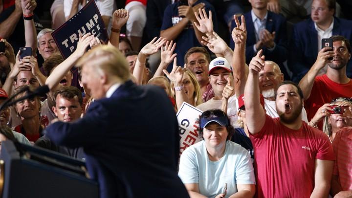 President Donald Trump at a rally in Greenville, North Carolina