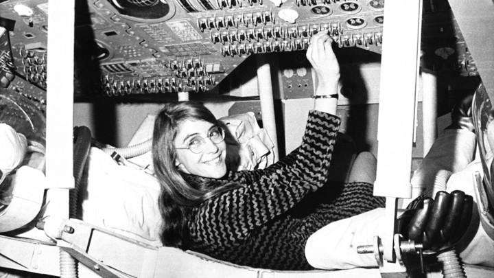Margaret Hamilton, the lead software designer for the Apollo 11 mission, sits in a mock-up of the Apollo 12 command module.