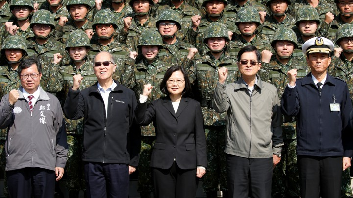 Taiwan's President Tsai Ing-wen visits with Taiwanese soldiers.