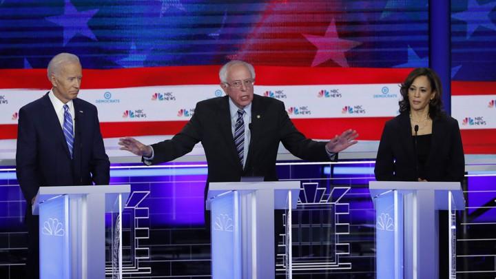 Joe Biden, Bernie Sanders, and Kamala Harris during the second night of the first Democratic debate.