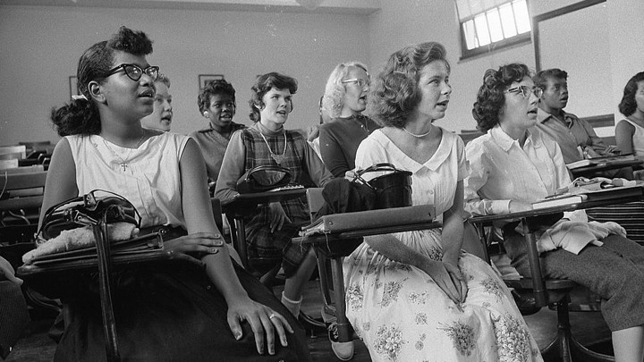 Students sit in an integrated classroom at Anacostia High School, in Washington, D.C., in 1957.