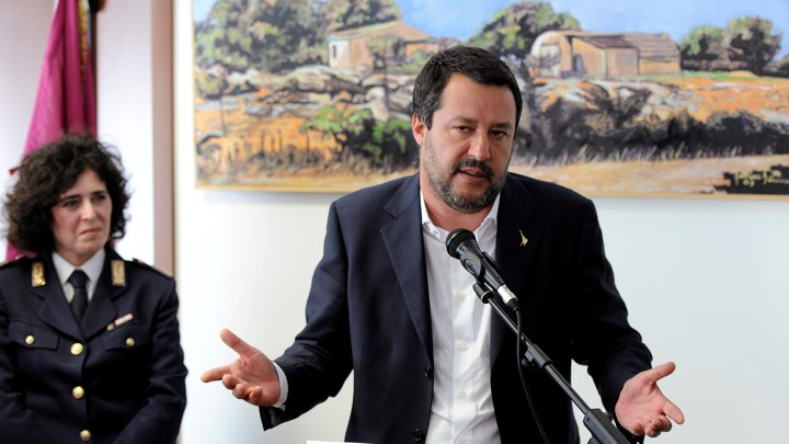 Matteo Salvini delivers a speech.