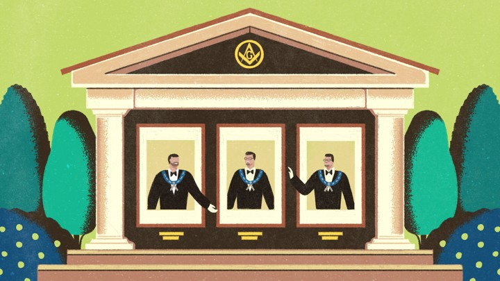 An illustration of three men in a Masonic lodge.