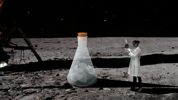A scientist examining a cartoon beaker on the lunar surface.