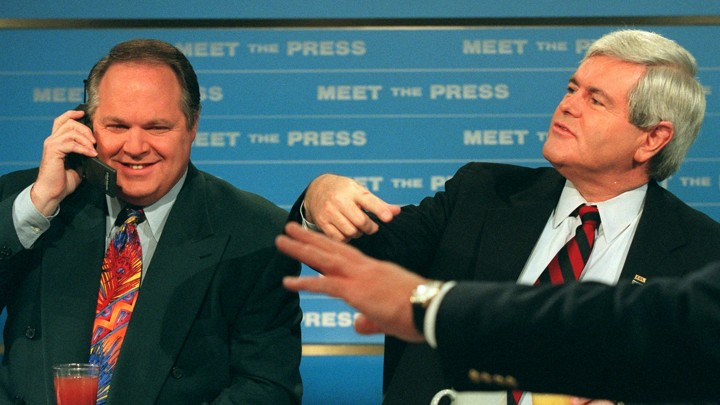 "Rush Limbaugh and Newt Gingrich at a ""Meet the Press"" taping."
