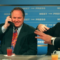 """Rush Limbaugh and Newt Gingrich at a """"Meet the Press"""" taping."""