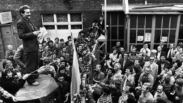 Lech Walesa addresses striking shipyard workers in August 1980 in Gdansk.