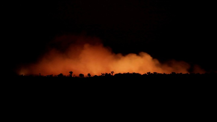 A fire in an area of the Amazon rainforest near Humaita, Amazonas State, Brazil.