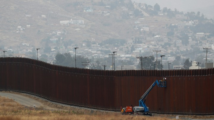 Construction of a new part of a border wall between the U.S. and Mexico near Tijuana.