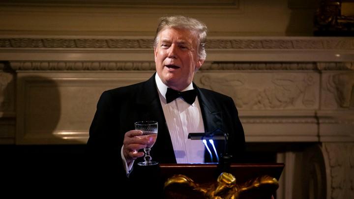 President Donald Trump gives a speech