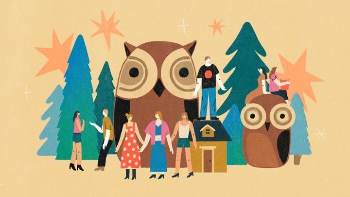An illustration of a group of friends in the woods with giant owls.