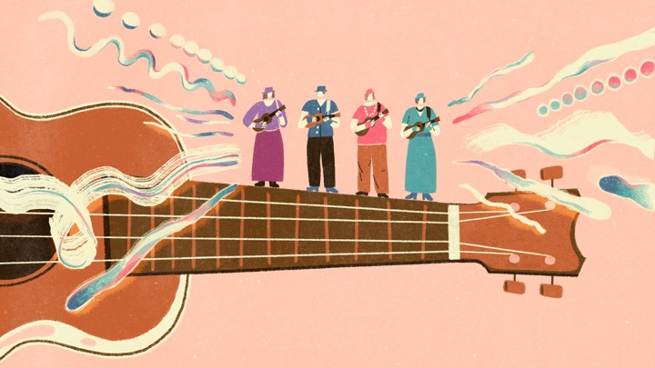 An illustration of four women playing ukulele on the neck of a larger ukulele.