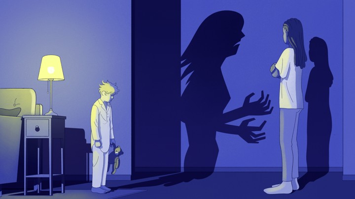 An illustration of a boy looking at a woman with a scary shadow.