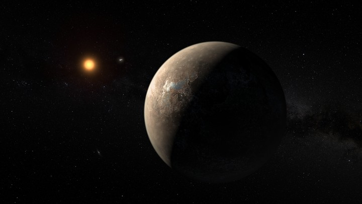 An artist's impression of the planet orbiting the star Proxima Centauri