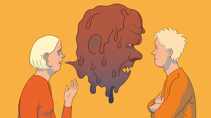 A drawing of a mother speaking with her son, with a speech bubble in the shape of a monstrous man.