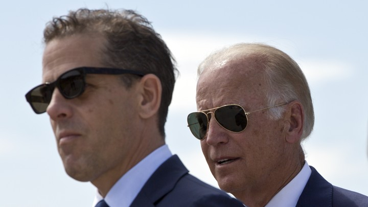A closeup of Hunter Biden standing with his father, Joe Biden.