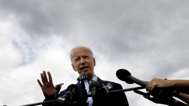 Joe Biden speaks with reporters in New Hampshire.
