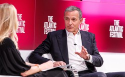 Disney Chairman and CEO Bob Iger talks with Laurene Powell Jobs onstage at The Atlantic Festival.