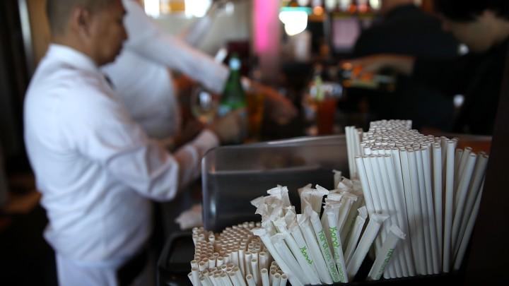 Paper straws at a bar in San Francisco