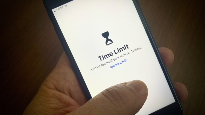 "A Screen Time notification reading ""Time Limit: You've reached your limit on Twitter."""