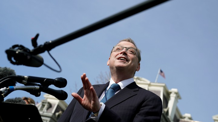 Former Council of Economic Advisers Chairman Kevin Hassett speaks to reporters at the White House.