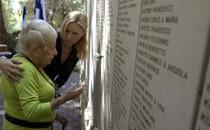 Holocaust survivor Marga Spiegel at Holocaust memorial site
