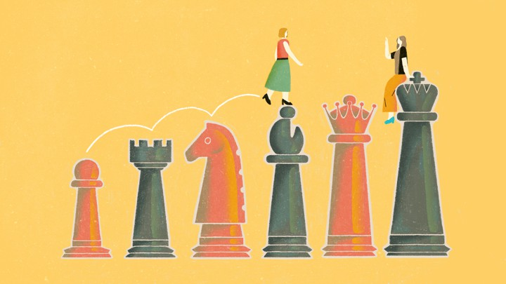 An illustration of two women hopping on top of chess pieces.