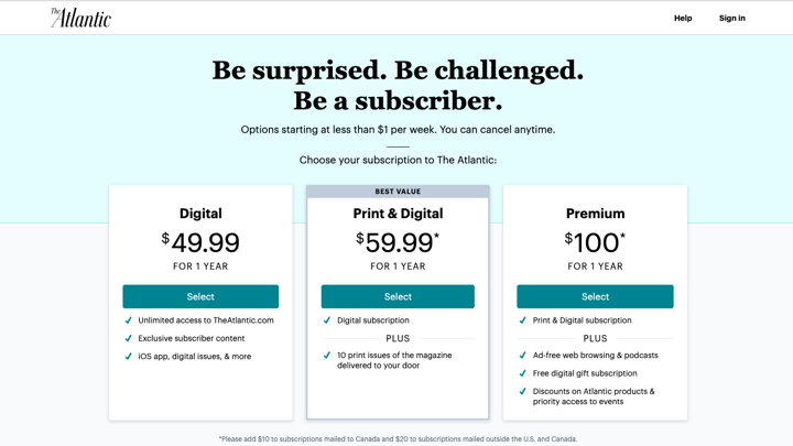 The Atlantic's New Subscription Plans and Metered Model