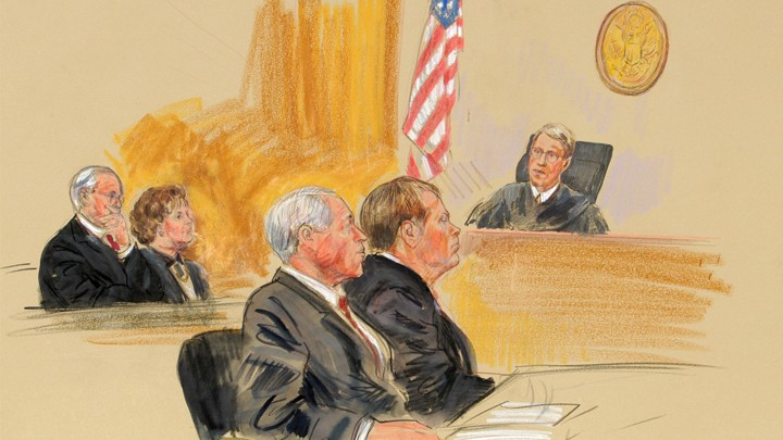 Artist rendering of a judge presiding over a hearing in 2003 for John Hinckley Jr.,