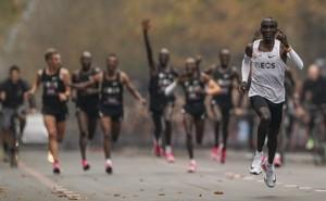The Kenyan marathoner Eliud Kipchoge runs in the INEOS 1:59 Challenge.